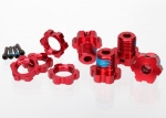 5353R Wheel hubs, splined, 17mm (red-anodized) (4)/ wheel nuts, splined, 17mm (red-anodized) (4)/ screw pins, 4x13mm (with threadlock) (4)