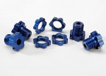5353X Wheel hubs, splined, 17mm (blue-anodized) (4)/ wheel nuts, splined, 17mm (blue-anodized) (4)/ screw pins, 4x13mm (with threadlock) (4)