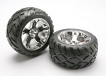 5576R Tires & wheels, assembled, glued (All-Star chrome wheels, Anaconda® tires, foam inserts) (nitro rear/ electric front) (1 left, 1 right)