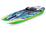 "green/blue DCB M41 Widebody:  Brushless 40"" Race Boat. Fully assembled, Ready-to-Race®, TQi Traxxas Link™ Enabled 2.4GHz Radio System, Castle Creations 540XL Brushless Motor, VXL-6s Marine ESC, Traxxas Stability Management (TSM)®, and factory-applied"