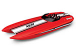"Red body DCB M41 Widebody:  Brushless 40"" Race Boat. Fully assembled, Ready-to-Race®, TQi Traxxas Link™ Enabled 2.4GHz Radio System, Castle Creations 540XL Brushless Motor, VXL-6s Marine ESC, Traxxas Stability Management (TSM)®, and factory-applied gr"