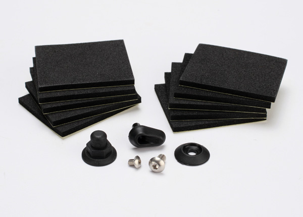 Traxxas 5723 Hatch post / hull water outlet / foam pads (10) /  washer (1) /  4x8mm BCS ,  stainless steel /  3x4mm BCS ,  stainless steel