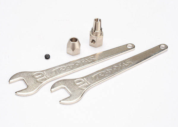 Traxxas 5761 Motor coupler ,  collet style /  GS 4x3 SS (with threadlock) (1) /  wrench ,  10mm (2)