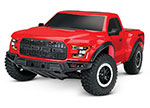 RED Ford F-150 Raptor: 1/10 Scale 2WD Ford F-150 Raptor. Ready-To-Race® with TQ 2.4GHz radio system and XL-5 ESC (fwd/rev).  Includes: 7-Cell NiMH 3000mAh Traxxas battery.