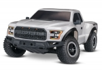 Silver Ford F-150 Raptor: 1/10 Scale 2WD Ford F-150 Raptor. Ready-To-Race® with TQ 2.4GHz radio system and XL-5 ESC (fwd/rev).  Includes: 7-Cell NiMH 3000mAh Traxxas battery.