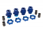 5853X Wheel hubs, splined, 17mm, short (2), long (2)/wheel nuts, splined, 17mm (4) (blue-anodized)/ hub retainer M4x0.7 (4)/axle pin (4)/wrench, 5mm