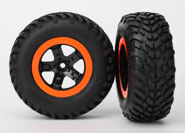 Traxxas 5863 Tires & wheels ,  assembled ,  glued (SCT black ,  orange beadlock wheels ,  dual profile (2.2' outer ,  3.0' inner) ,  SCT off-road racing tire ,  foam inserts) (2) (4WD f / r ,  2WD rear) (TSM rated)