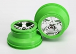 "5866 Wheels, SCT, chrome, green beadlock style, dual profile (2.2"" outer, 3.0"" inner) (2) (2WD front only)"