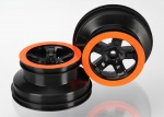5868X Wheels, SCT black, orange beadlock style, dual profile (2.2
