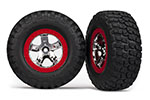5869 Tires & wheels, assembled, glued (SCT chrome, red beadlock style wheels, BFGoodrich® Mud-Terrain™  T/A® KM2 tires, foam inserts) (2) (2WD front)