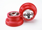 "5870 Wheels, SCT chrome, red beadlock style, dual profile (2.2"" outer, 3.0"" inner) (2WD front) (2)"
