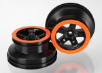5870X Wheels, SCT black, orange beadlock style, dual profile (2.2
