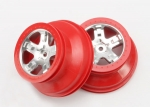 5872A Wheels, SCT satin chrome, red beadlock style, dual profile (2.2