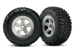 5873 Tires & wheels, assembled, glued (SCT satin chrome, beadlock style wheels, SCT off-road racing tires, foam inserts) (2) (4WD front/rear, 2WD rear only) (TSM rated)