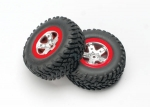 5873A Tires & wheels, assembled, glued (SCT satin chrome, red-beadlock style wheels, SCT off-road tires, foam inserts) (2) (4WD front/rear, 2WD rear only)