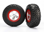 5873R Tires & wheels, assembled, glued (SCT satin chrome red beadlock wheels, ultra-soft S1 compound off-road racing tires, inserts) (2) (2WD rear, 4WD f/r)