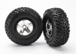 5873X Tires & wheels, assembled, glued (SCT satin chrome, black beadlock style wheels, SCT off-road racing tires, foam inserts) (2) (4WD front/rear, 2WD rear only)