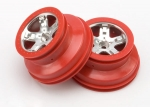 5874A Wheels, SCT satin chrome, red beadlock style, dual profile (2.2