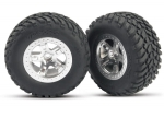 5875 Tires & wheels, assembled, glued (SCT satin chrome, beadlock style wheels, SCT off-road racing tires, foam inserts) (2) (2WD front)