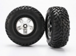 5875X Tires & wheels, assembled, glued (SCT satin chrome, black beadlock style wheels, SCT off-road racing tires, foam inserts) (2) (2WD front)