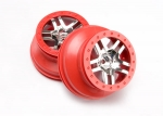 5876A Wheels, SCT Split-Spoke, chrome, red beadlock style, dual profile (2.2