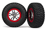 5877A Tires & wheels, assembled, glued (SCT Split-Spoke, chrome red beadlock style wheels, BFGoodrich® Mud-Terrain™  T/A® KM2 tires, foam inserts) (2) (2WD front)
