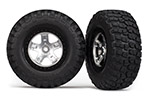 5878 Tires & wheels, assembled, glued (SCT satin chrome, black beadlock style wheels, BFGoodrich® Mud-Terrain™  T/A® KM2 tires, foam inserts) (2)(4WD front/rear, 2WD rear only)