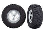 5880X Tires & wheels, assembled, glued  (SCT satin chrome, beadlock style wheels, Kumho tires, foam inserts) (2) (4WD front/rear, 2WD rear only)