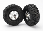 5881 Tires & wheels, assembled, glued (SCT satin chrome, black beadlock style wheels, Kumho tires, foam inserts) (2) (2WD front)