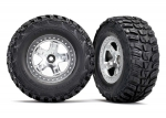 5881X Tires & wheels, assembled, glued (SCT satin chrome, beadlock style wheels, Kumho tires, foam inserts) (2) (2WD front)