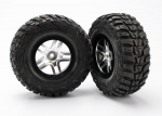 5882R Tires & wheels, assembled, glued (S1 ultra-soft off-road racing compound) (SCT Split-Spoke satin chrome, black beadlock style wheels, Kumho tires, foam inserts) (2) (2WD front)