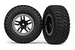 5883 Tires & wheels, assembled, glued (SCT Split-Spoke, black, satin chrome beadlock wheels, BFGoodrich® Mud-Terrain™  T/A® KM2 tire, foam inserts) (2) (4WD f/r, 2WD rear)