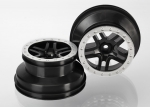 5884 Wheels, SCT Split-Spoke, black, satin chrome beadlock style, dual profile (2.2