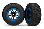 5885A Tire & wheel assy, glued (SCT Split-Spoke, black, blue beadlock wheels,  BFGoodrich® Mud-Terrain™  T/A® KM2 tires,  inserts) (2) (2WD Front)