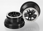 5886 Wheels, SCT Split-Spoke, black, satin chrome beadlock style, dual profile (2.2