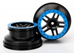 "5886A Wheels, SCT Split-Spoke, black, blue beadlock style, dual profile (2.2"" outer, 3.0"" inner) (2WD front) (2)"