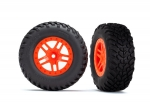 5892 Tires & wheels, assembled, glued (SCT Split-Spoke orange wheels, SCT off-road racing tires, foam inserts) (2) (4WD f/r, 2WD rear) (TSM rated)