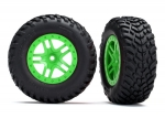 5892G Tires & wheels, assembled, glued (SCT Split-Spoke green wheels, SCT off-road racing tires, foam inserts) (2) (4WD f/r, 2WD rear) (TSM rated)
