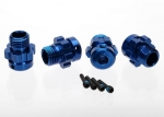 6469 Wheel hub, splined, 17mm, 6061-T6 aluminum (blue-anodized) (4)/ screw pin, 4x13mm (with threadlock) (4) (for 6mm axles)