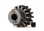 6487X Gear, 15-T pinion (1.0 metric pitch) (fits 5mm shaft)/ set screw (for use only with steel spur gears)