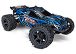 BLUE Rustler® 4X4: 1/10-scale 4WD StadiumTruck.  Ready-To-Race® with TQ 2.4GHz radio system and XL-5 ESC (fwd/rev).  Includes: 7-Cell NiMH 3000mAh Traxxas® battery with DC charger