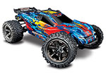 RED, YELLOW Rustler® 4X4 VXL:  1/10 Scale Stadium Truck. Ready-to-Race® with TQi Traxxas Link™ Enabled 2.4GHz Radio System, Velineon® VXL-3s brushless ESC (fwd/rev), and Traxxas Stability Management (TSM)®