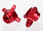 6837R Steering blocks, 6061-T6 aluminum (red-anodized), left & right