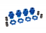 6856X Wheel hubs, splined, 17mm, short (4)/ wheel nuts, splined, 17mm (4) (blue-anodized)/ hub retainer M4 X 0.7 (4)/ axle pin (4)/ wrench, 5mm