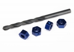 6869 Wheel adaptors, 12mm hex, 6061-T6 aluminum (blue-anodized) (4)/ screw pins (4)/ drill bit, 0.25 inch (for 6mm shafts) (requires #6451 (x2), #6452 (x2), #6439, #6455, #5117 (x3))
