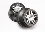 6872 Wheels, SCT Split-Spoke, satin chrome, black beadlock style, dual profile (2.2