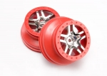 6872A Wheels, SCT Split-Spoke, chrome, red beadlock style, dual profile (2.2