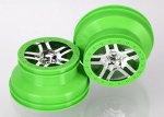 6872X Wheels, SCT Split-Spoke, chrome, green beadlock style, dual profile (2.2