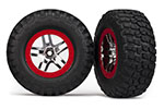 6873R Tires & wheels, assembled, glued (S1 ultra-soft, off-road racing compound) (SCT Split-Spoke chrome, red beadlock style wheels, BFGoodrich® Mud-Terrain™  T/A® KM2 tires, foam inserts) (2) (4WD f/r, 2WD rear)