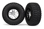6873X Tires & wheels, assembled, glued (S1 ultra-soft off-road racing compound) (SCT Split-Spoke satin chrome, black beadlock style wheels, BFG Mud-Terrain tires, foam inserts) (2) (4WD front/rear, 2WD rear only)